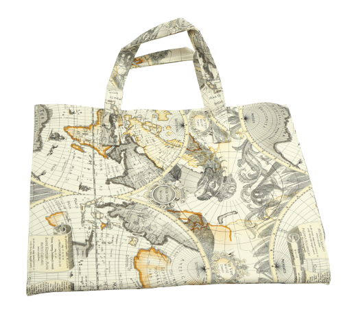 ANTIQUE-MAP NYLON-LINED TOTE BAG
