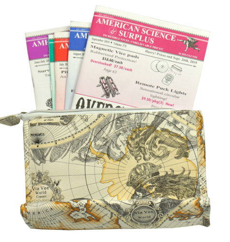 ANTIQUE-MAP ZIPPERED NYLON CLUTCH