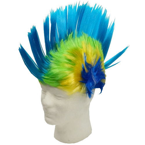 GREEN-AQUA MOHAWK WIG WITH LEDS