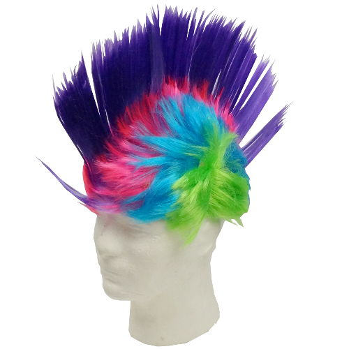 MAGENTA-PURPLE MOHAWK WIG WITH LEDS