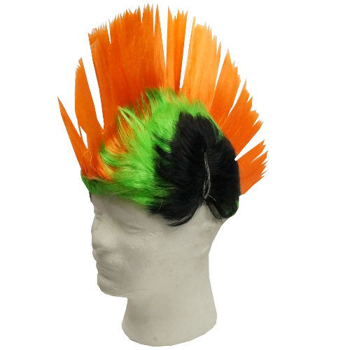 GREEN-ORANGE MOHAWK WIG WITH LEDS