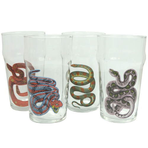 SET OF 4 SNAKE-THEMED PINT GLASSES