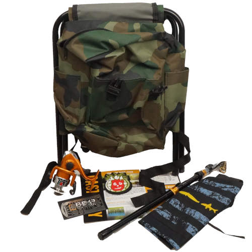 FISHING BACKPACK WITH POLE AND GEAR