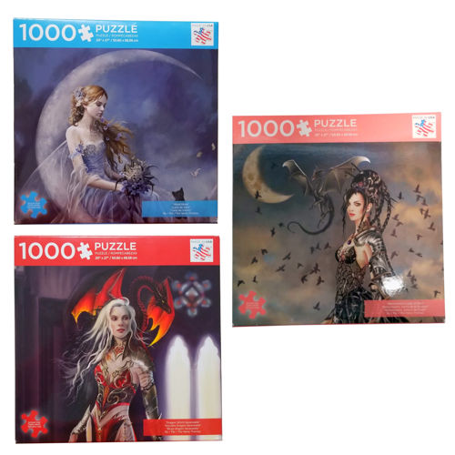 1000-PC ASSORTED FANTASY JIGSAW PUZZLES
