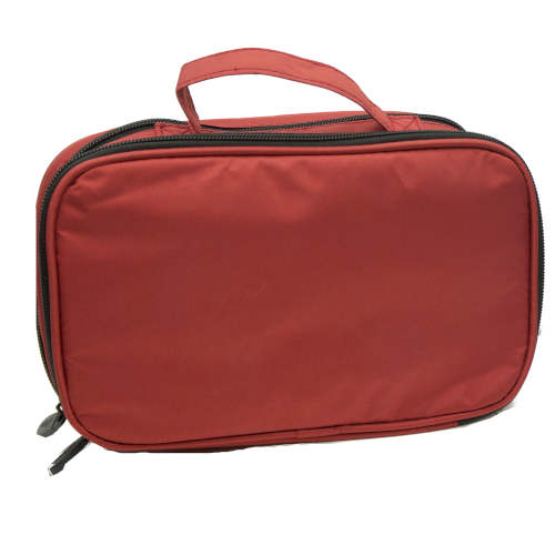 COSMETIC BAG WITH ZIPPER COMPARTMENTS