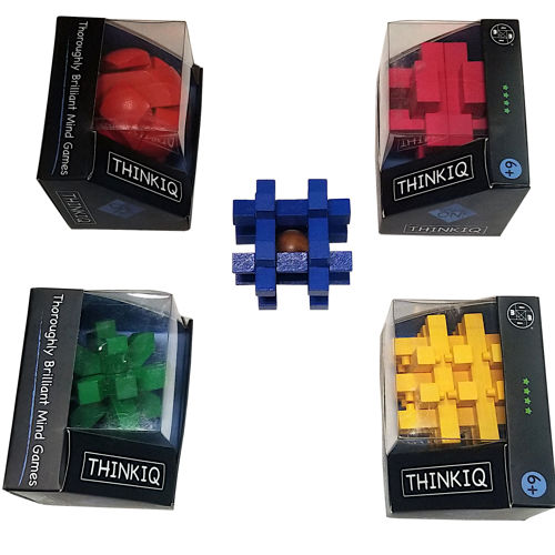 THINK IQ WOODEN BRAIN TEASER SPATIAL PUZZLES
