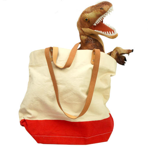 WHITE AND RED CANVAS TOTE BAG