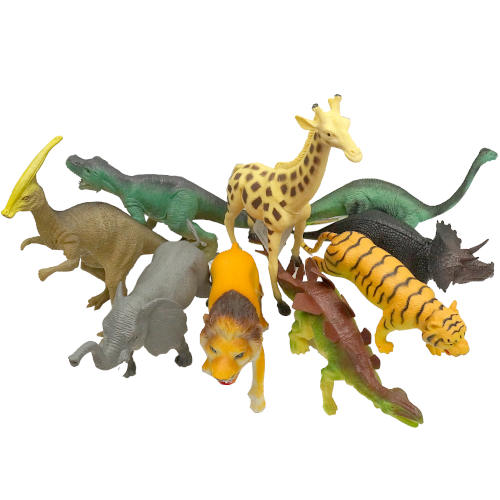 HARD RUBBER ANIMALS AND DINOSAURS