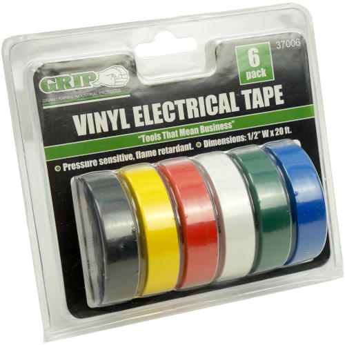 6-PACK COLORED VINYL ELECTRICAL TAPE