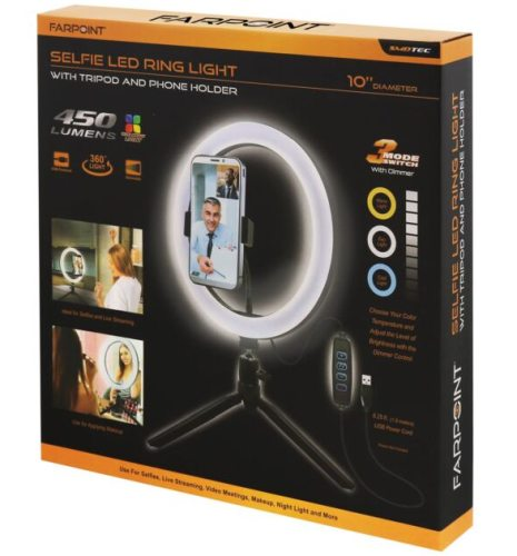 FARPOINT LED RING LIGHT WITH TRIPOD AND PHONE HOLDER