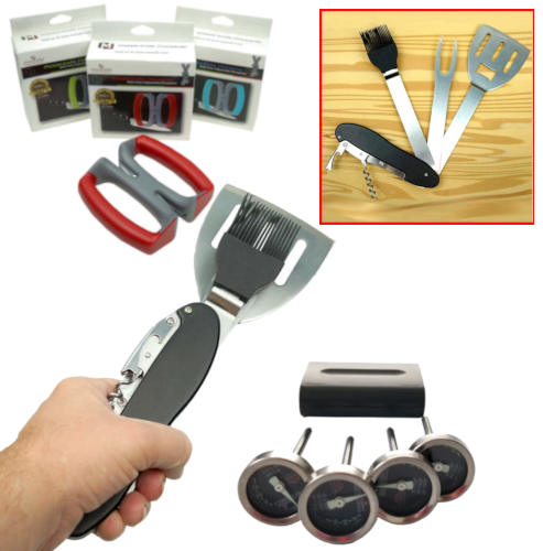 BBQ MULTITOOL & MEAT THERMOMETER SET PLUS FREE KNIFE SHARPENER