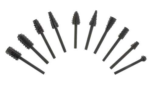 """ASSORTED ALLOY 1/8"""" ROTARY WOOD BURRS"""