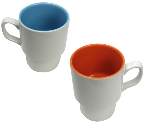 WHITE/ORANGE STACKING CERAMIC MUGS