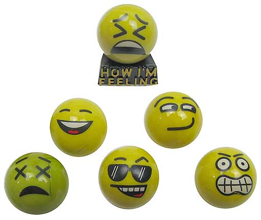 6 GLASS EMOJI MARBLES WITH STAND