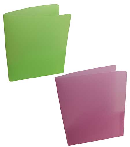 TRANSLUCENT GREEN PLASTIC POCKET FOLDERS
