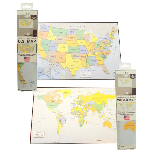 PEEL AND STICK DRY ERASE WORLD MAP