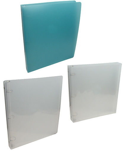 TRANSLUCENT AQUA PLASTIC THREE-RING BINDERS