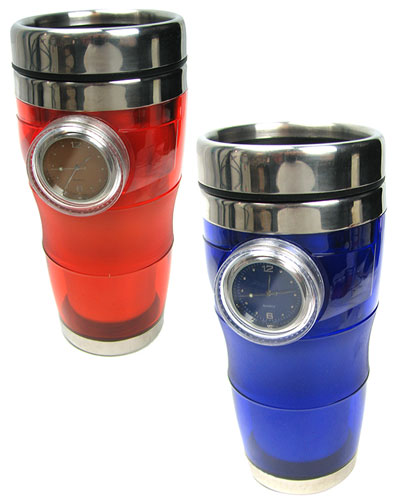 STAINLESS STEEL BLUE 16 OZ MUG WITH CLOCK