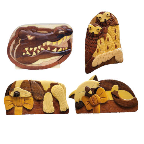 HAND-CARVED WOODEN BEAR SAFE STORAGE BOX