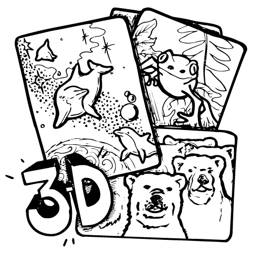 CARDS, 3-D NATURE, 3 different