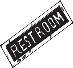 "4"" X 12"" DAY-GLO REST ROOM SIGN"