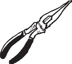 RUBBER HANDLED LONG NOSE PLIERS