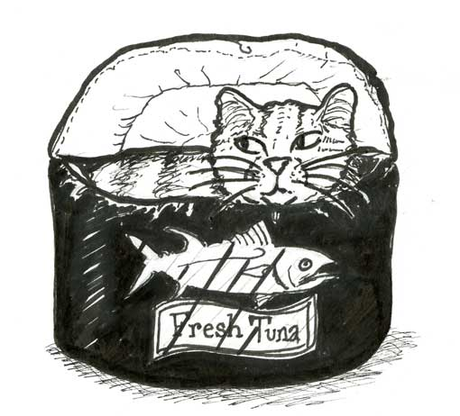 TUNA CAN FLEECE-LINED CAT BED