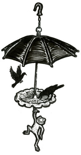 CAST-IRON BIRD FEEDER WITH UMBRELLA