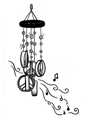 PEACE SIGN WIND CHIMES