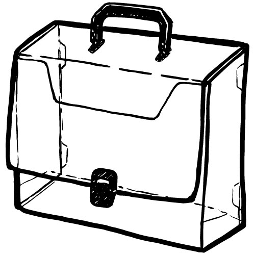 CLEAR PLASTIC PORTFOLIO CASE WITH HANDLE