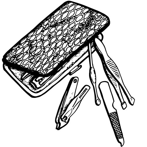 6-PIECE MANICURE SET WITH SNAP SHUT SNAKESKIN CASE