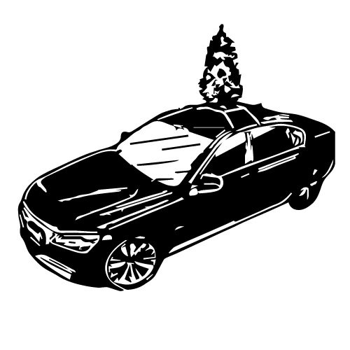 AUTOMOBILE CHRISTMAS TREE WITH ROOF MOUNT