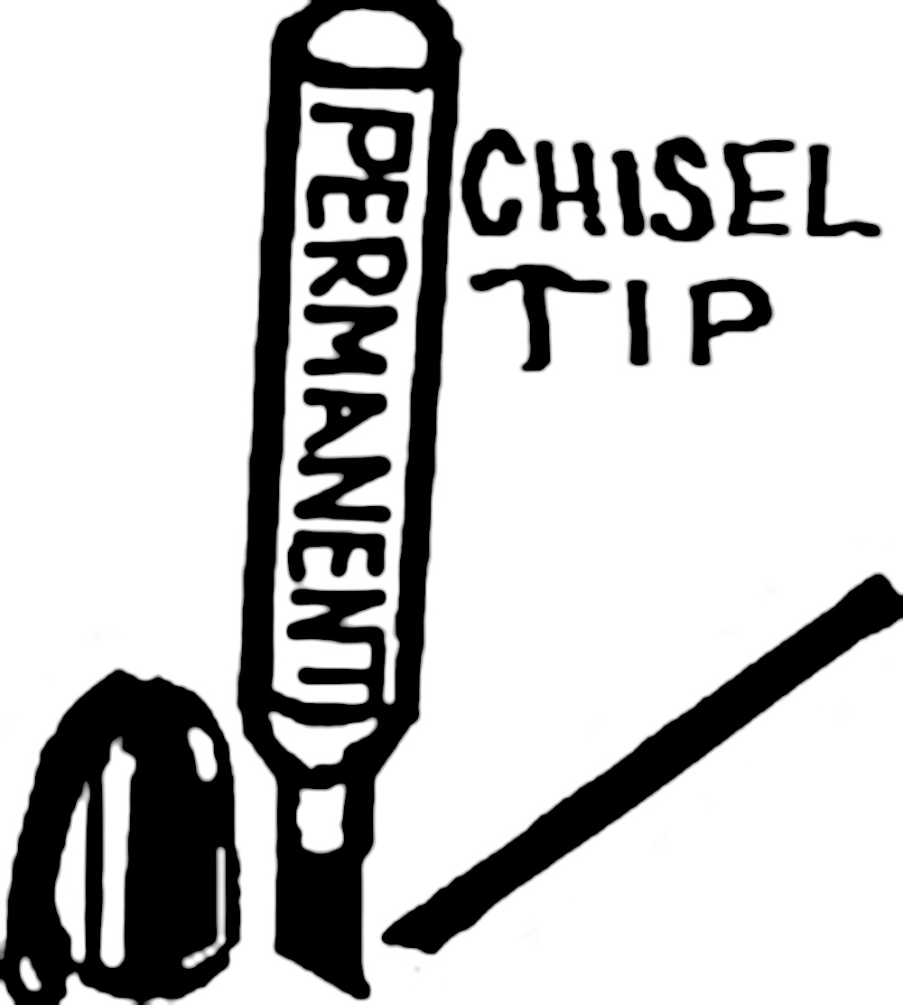 BLACK CHISEL-TIP PERMANENT MARKERS