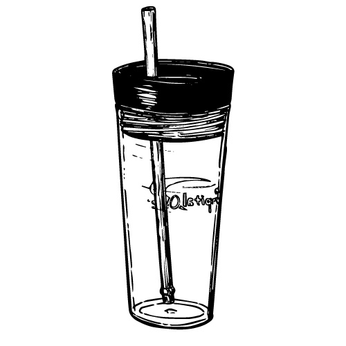 16 OZ PLASTIC CUP WITH CAP AND STRAW