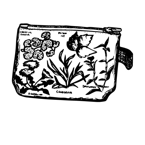 GARDEN WEEDS ZIPPERED COTTON POUCH
