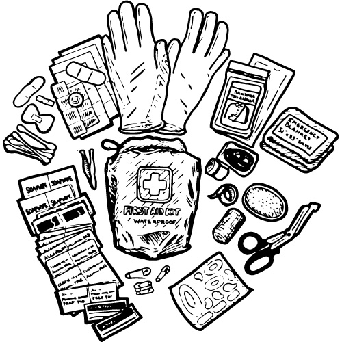 100pc FIRST AID KIT IN DRY SACK