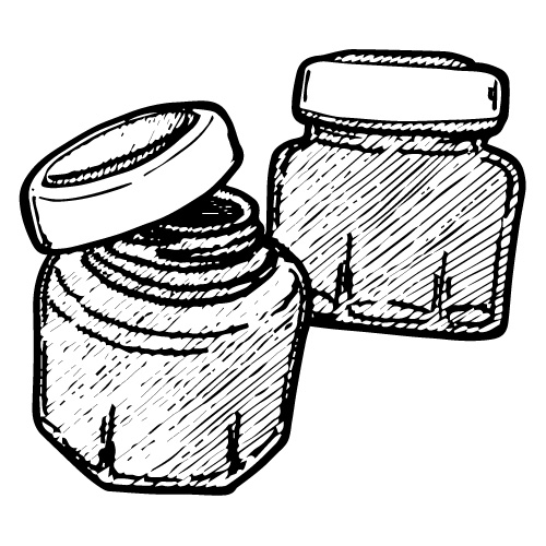 GREEN GLASS JARS WITH SCREW CAPS