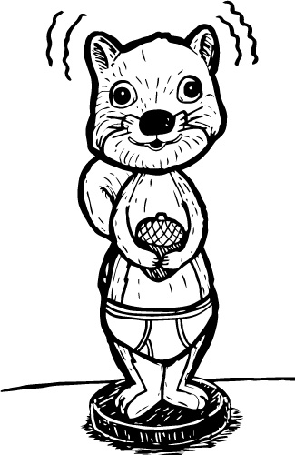 SQUIRREL IN UNDERPANTS BOBBLE DOLL