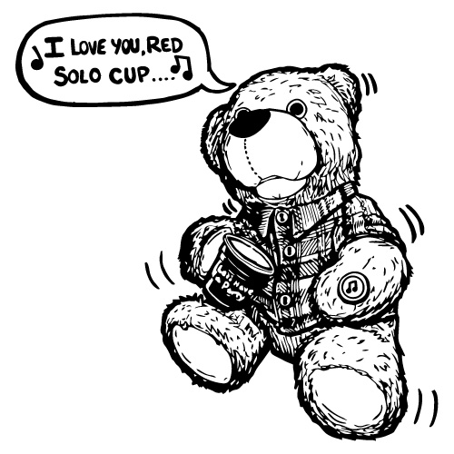 RED PARTY CUP SINGING PLUSH BEAR
