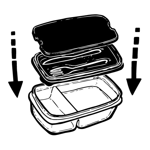 PLASTIC LUNCHBOX WITH KNIFE AND FORK