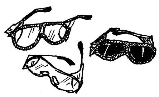 DARK SAFETY GLASSES WITH BLACK FRAMES